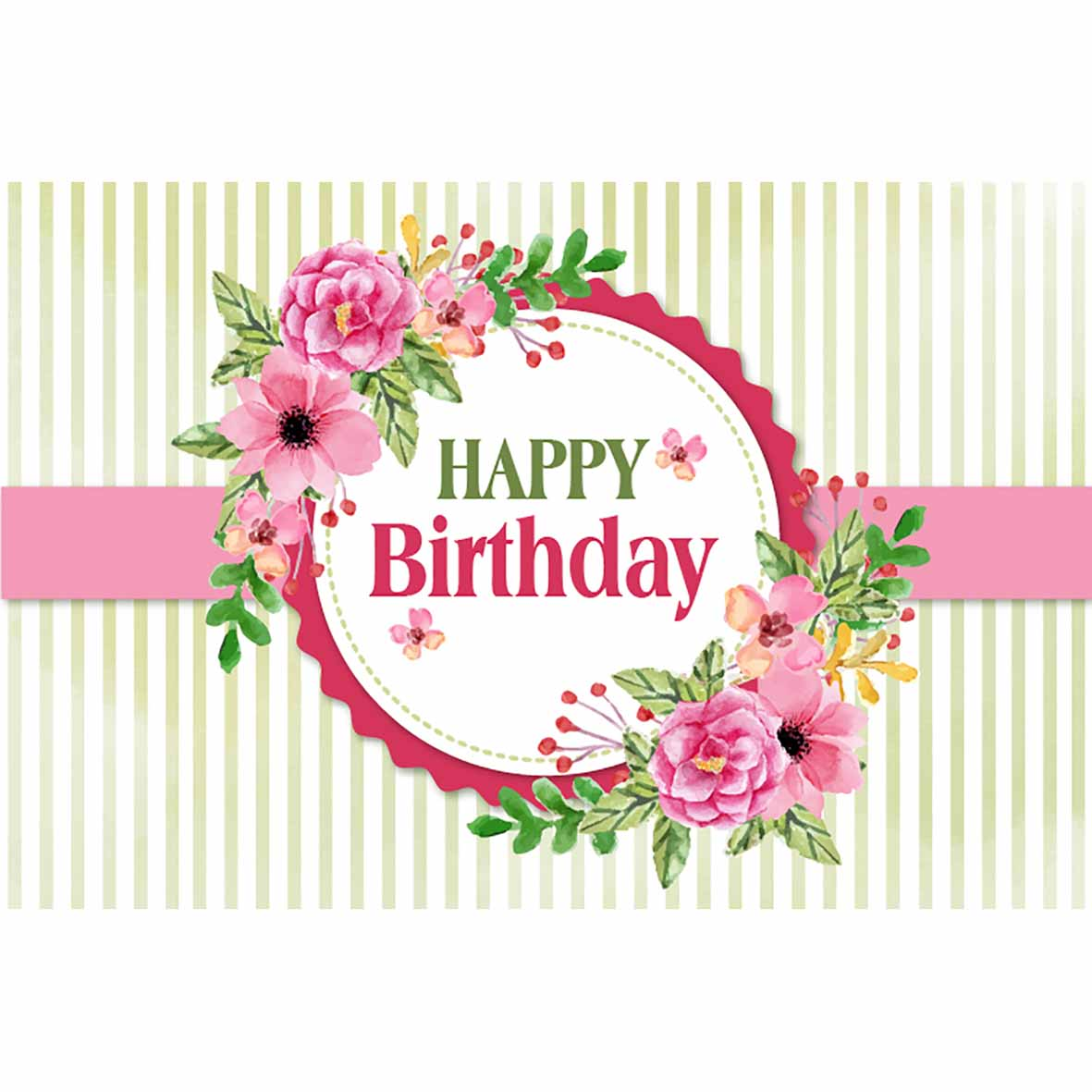 Card Happy Birthday Pink Green Stripes With Flower Greeting Cards Invitations Home Garden