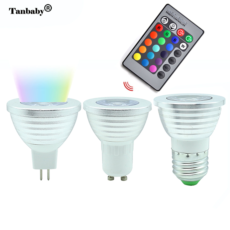 Tanbaby 3W RGB LED Light Bulb E27 MR16 GU10 16 Colorful Change spotlight Lamp with Remote controller For Home Party Decoration 3w e27 e14 gu10 rgb led bulb 16 color led spotlight with ir remote controller ac85 265v spot led lamp for home party decoration