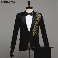 Fashion Embroidery Black White Red Blue Male Suits Host Prom Formal Stage Costume Men's Singer Chorus Party performance clothes