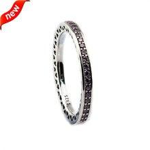 Оригинальные Серебряные Кольца 100% стерлингового серебра 925-серебро-ювелирные изделия, сияющий Сердца, светло-Розовый Эмаль & Clear CZ, женщины Изящных Ювелирных Изделий R12100B(China (Mainland))