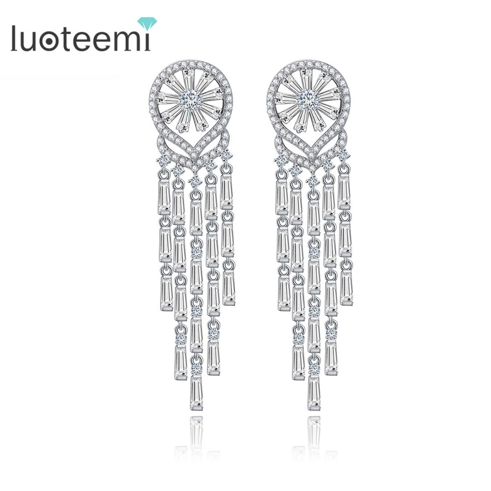 LUOTEEMI 2016 New Korea Style AAA CZ Wedding Bridal Tassel Long font b Earrings b font