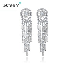 LUOTEEMI 2016 New Korea Style AAA CZ Wedding Bridal Tassel  Long Earrings For Women Brincos Bijoux Free Shipping