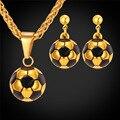 Aretes Collar de Oro Plateado Joyería de Las Mujeres 2016 de Fútbol de fútbol Collar de Diseño Único de Acero Inoxidable S003