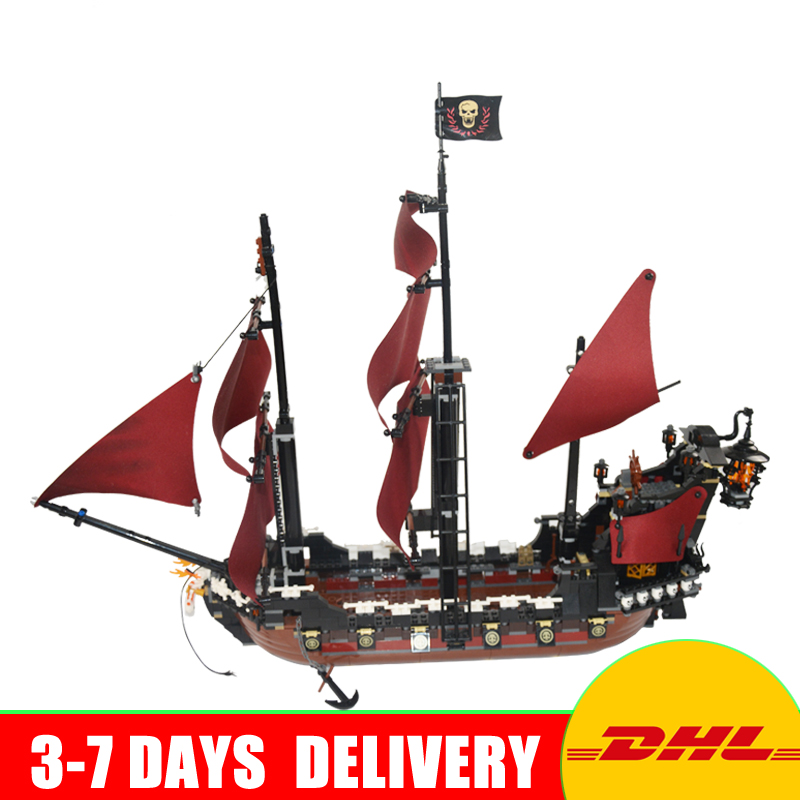 In Stock LEPIN 16009 1151Pcs Pirates Of The Caribbean Queen Anne's Reveage Model Building Kit Set Blocks Brick Toys Gift 4195 lepin 16009 the queen anne s revenge pirates of the caribbean building blocks set compatible with legoing 4195 for chidren gift
