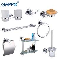 Gappo 8PC Set Bathroom Accessories Soap Dish Double Toothbrush Holder Paper Holder Towel Bar Glass Shelf