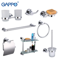 Gappo 8PC Set Bathroom Accessories Soap Dish Double Toothbrush Holder Paper Holder Towel Bar Glass Shelf