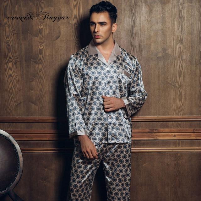 Модные Для мужчин S шелковый атлас пижамы с цветочным принтом Для мужчин s пижамы элегантный Повседневное Для мужчин пижамы Наборы для ухода за кожей 2 шт tinyear домашняя одежда