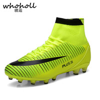 Whoholl 2017 New Lovers Men S Outdoor Soccer Cleats Shoes High Top TF FG Football BootsWomen