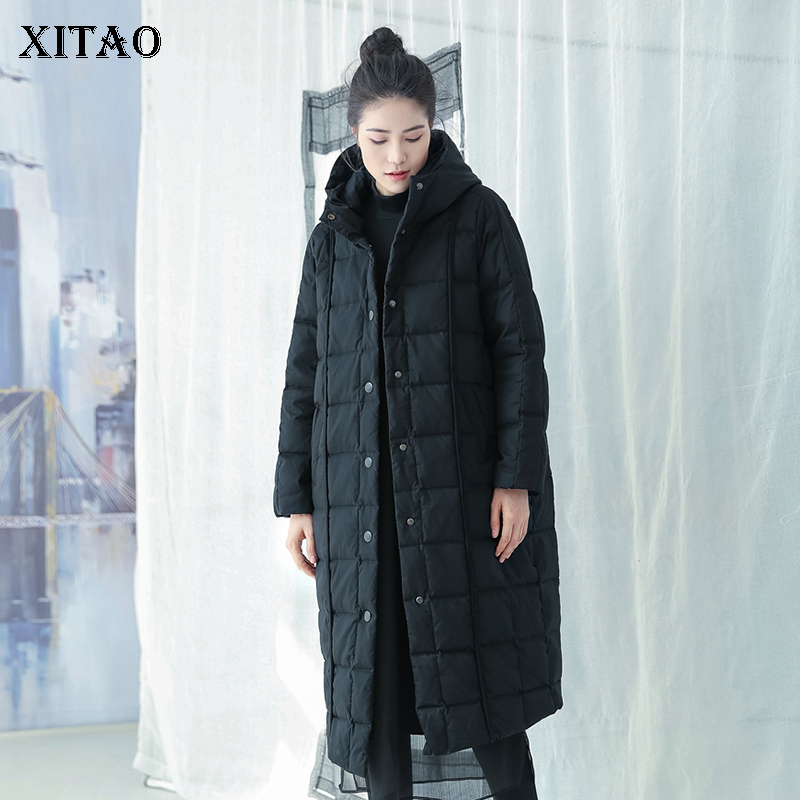 [XITAO] Fashion Women 2018 Winter Single Breasted White Duck   Down   Long Full Sleeve Solid Color Casual Pocket   Down     Coat   DLL1194