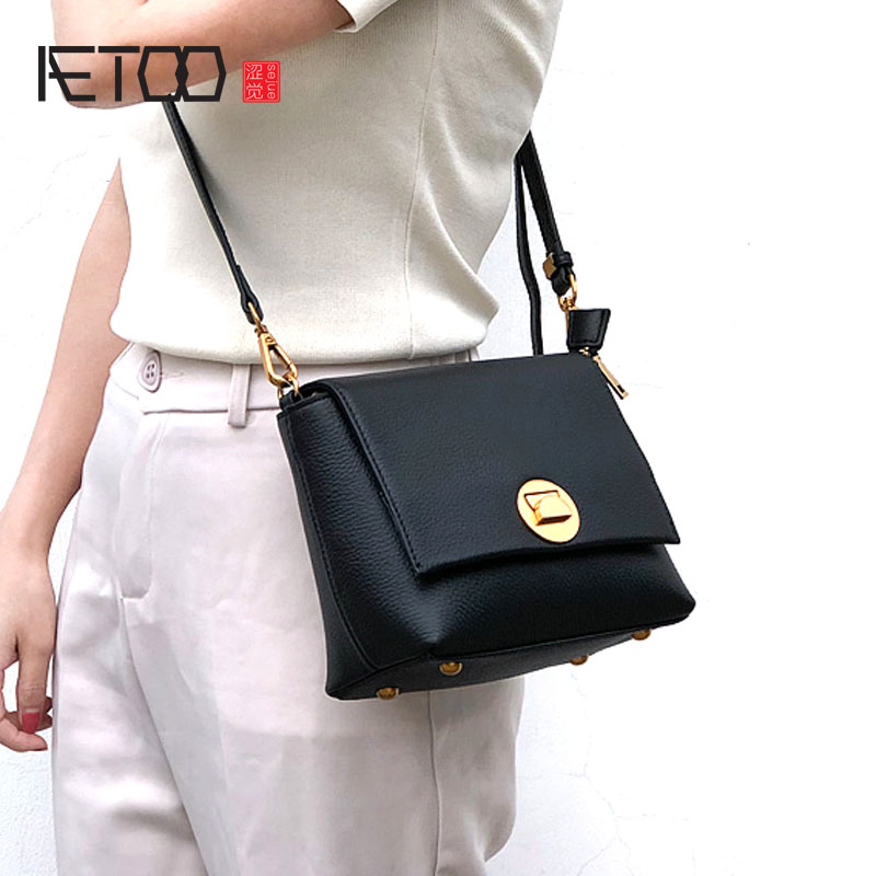 AETOO Bag female new retro leather diagonal small bag shoulder bag tide female fashion wild turn buckle handbag fashion litchi pattern the first layer of leather commute commuter shell bag lock shoulder diagonal wild female bag