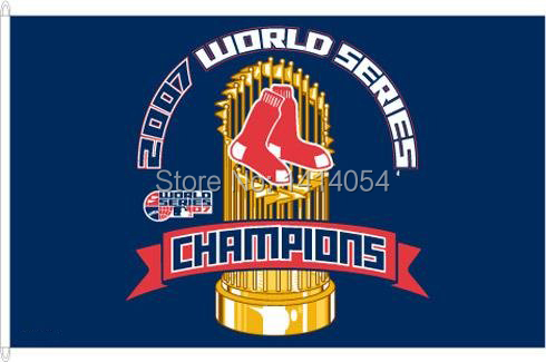Boston Red Sox 2007 World Series Champions Flag 150X90CM MLB 3x5 FT Banner 100D Polyester flag grommets 009, free shipping