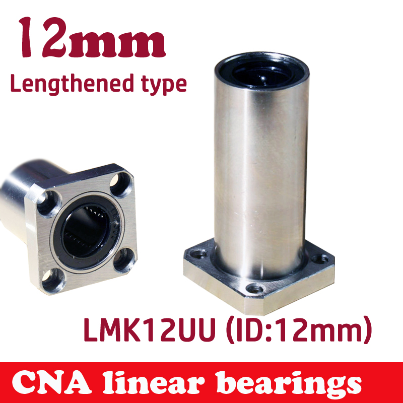 Free shipping LMK12LUU long type 12mm flange linear bearing CNC Linear Bush 42l w025 free shipping long type lmk40 luu 40 60 154mm 40mm square flange long linear bearing for cnc parts