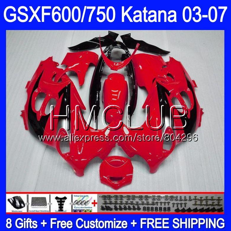 Bodys Pour SUZUKI KATANA GSXF600 2003 2004 2005 2006 2007 8HM. 25 Rouge noir GSX600F GSXF 600 750 GSXF750 03 04 05 06 07 Carénage