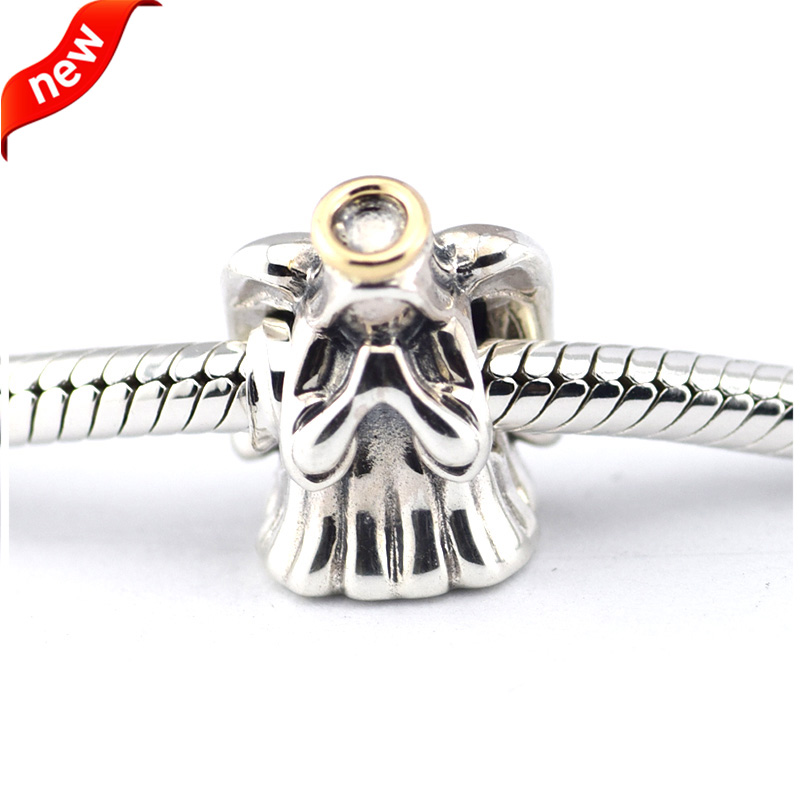 Fits For Pandora Braclets Divine Angel Charms with 14K Real Gold 100% 925 Sterling Silver Beads Free Shipping