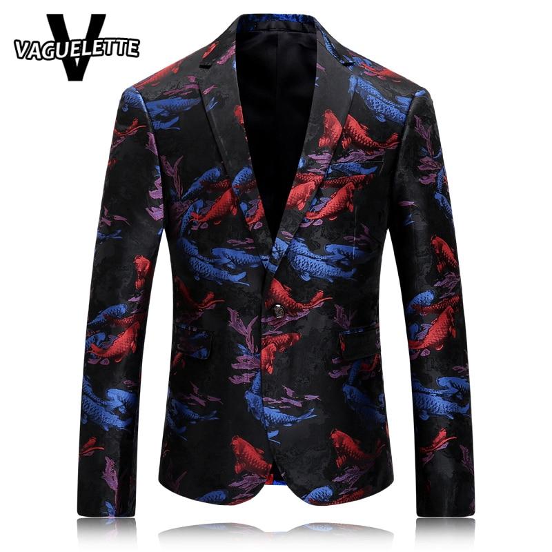 Fancy Uomini Blazer Giacca Casual Stampato Koi Fish Maillot Homme partito Stage di Usura Per Singer Mens Blazer Nuovo Arrivi 2018 M-4XL