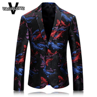 Fancy Men Blazer Jacket Casual Printed Koi Fish Maillot Homme Party Stage Wear For Singer Mens Blazers New Arrivals 2018 M-4XL