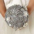 Роскошный Ручной Работы Высшего качества gem Брошь невесты Свадебное свадебный букет невесты стразы серебро Искусственные цветы 8588 Г
