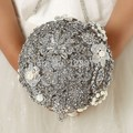 Luxurious Hand-Made Top quality gem Brooch bride Bridal wedding bouquet brides rhinestones silver Artificial flowers 8588G