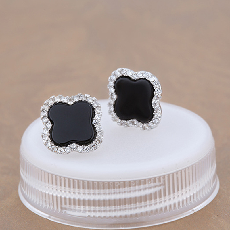 Sinya Agate Pierres Stud pour femmes en 925 Sterling argent design de mode bijoux avec rose noir couleur pour en option