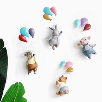 Cartoon Animal Decoration Resin Wall Hanging Nordic Pastoral Area Flying Balloon Lovely Living Room Hanging Crafts