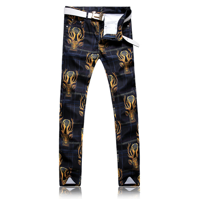 2017 New Arrival Famous printed Style Casual Mens Stretch Printed Jeans Men Designer Brand Jeans  cotton trousers.28-38.