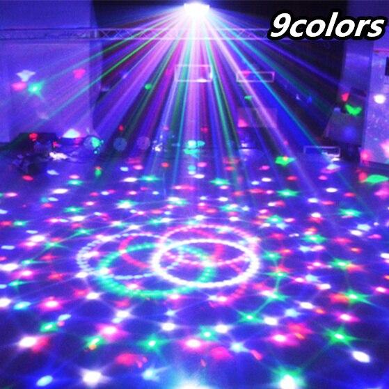 Transctego 9 cores 27 w bola de cristal mágica lâmpada palco led 21 modo disco laser luz luzes festa controle som dmx lumiere laser