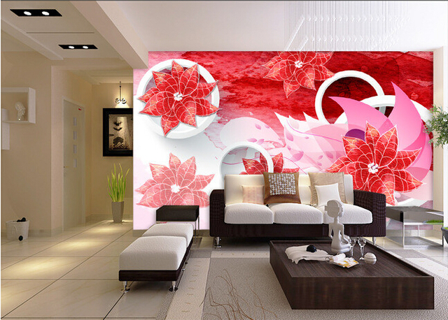 Custom 3D wallpaper, romantic fantasy flowers and squares for the ...