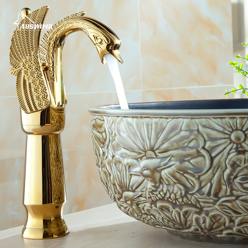 Gold Brass Swan Carved Faucet Tall Bend With All Accessories Kitchen Mixer Basin Taps