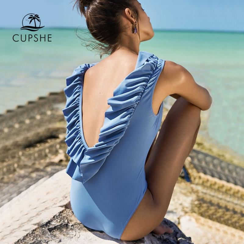 Cupshe Lovely Sweetheart Solid One-piece Swimsuit Backless Ruffles 2018 Monokini Sexy Bikini Ladies Beach Bathing Suit Swimwear sweetheart neck color block drawstring swimsuit