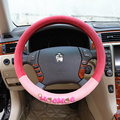 15 inch Cute girl's 2016 autumn winter warm steering wheel covers red-pink mocmoc cartoon car-cover on steering wheel in the car