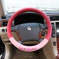 15 polegada da menina Bonito 2016 outono inverno quente cobertura de volante cobre vermelho-rosa mocmoc dos desenhos animados carro-cover no volante no carro