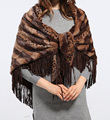 2016 Winter Women Leopard Fake Fur Triangle Shawl Suede Fringe Shawl Retail