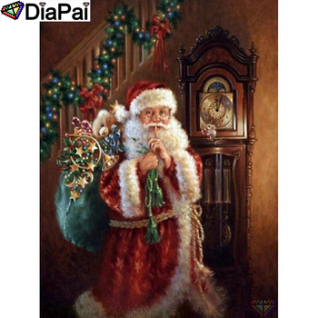 DIAPAI 5D DIY Diamond Painting 100% Full Square/Round Drill Santa Claus clock Embroidery Cross Stitch 3D Decor A21497