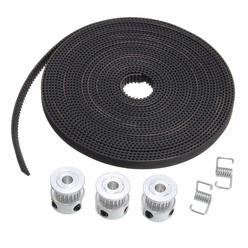 3 Pcs GT2 Pulley 20 Teeth 5mm bore 5 Meters GT2 Timing Belt 6 x Screws