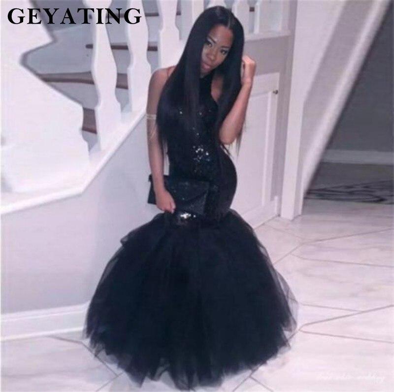 Robes de bal sirène noire pailletée pour les filles noires Sexy licou dos nu robes de soirée Vestides de festa 2019 longue robe de soirée