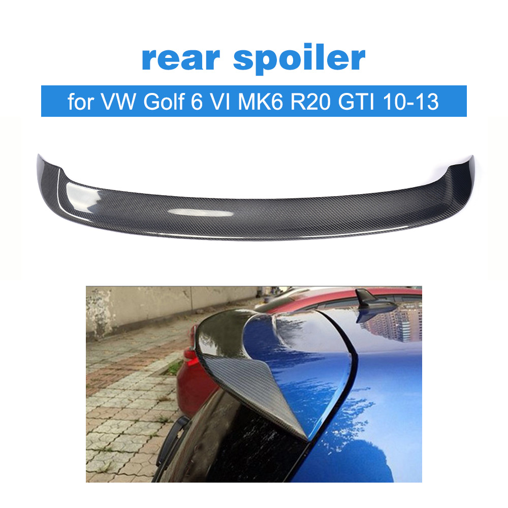 Carbon Fiber Rear Roof Spoiler Boot Wing Lip for Volkswagen VW Golf 6 VI MK6 R20 GTI 2010 - 2013 FRP Grey Car Styling O Style car styling carbon fiber auto rear wing spoiler lip for vw scirocco 2010 2012