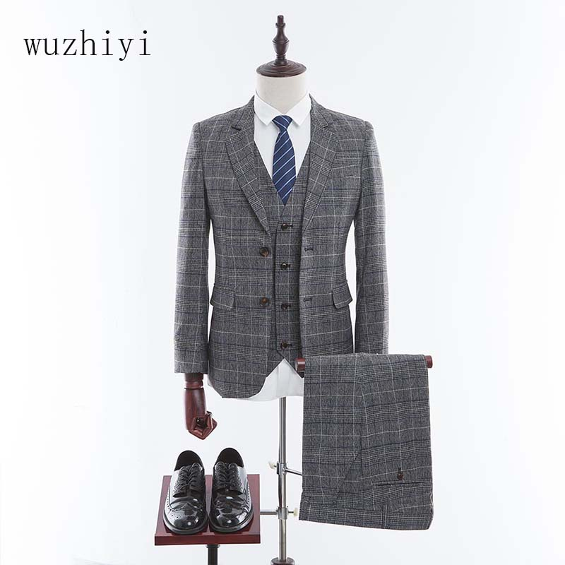 wuzhiyi 2018 Tweed Men Suit Custom Made Wedding Suits Retro Tailor Made Blazers Slim Fit Groom Tuxedos Homecoming Suit 3 Piece ...