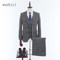 wuzhiyi 2018 Tweed Men Suit Custom Made Wedding Suits Retro Tailor Made Blazers Slim Fit Groom Tuxedos Homecoming Suit 3 Piece