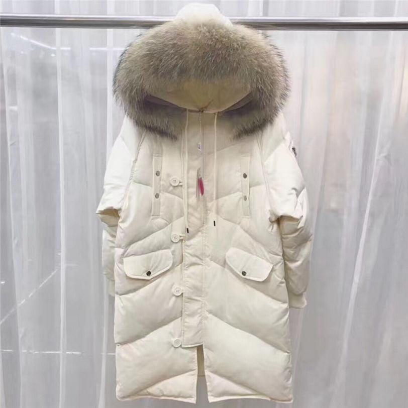 En gros 2018 hiver nouvelle mode marque avec grand col de fourrure à capuchon doudoune chaude femelle plus manteau wj1454 livraison gratuite