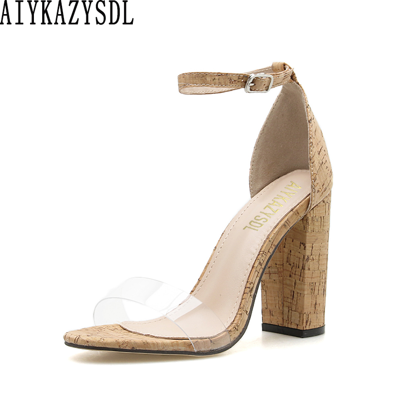 AIYKAZYSDL Women Ankle Strap Sandals Cork Wood Heels PVC Clear Transparent Thick Block Chunky High Heel Casual Shoes 2019 Summer