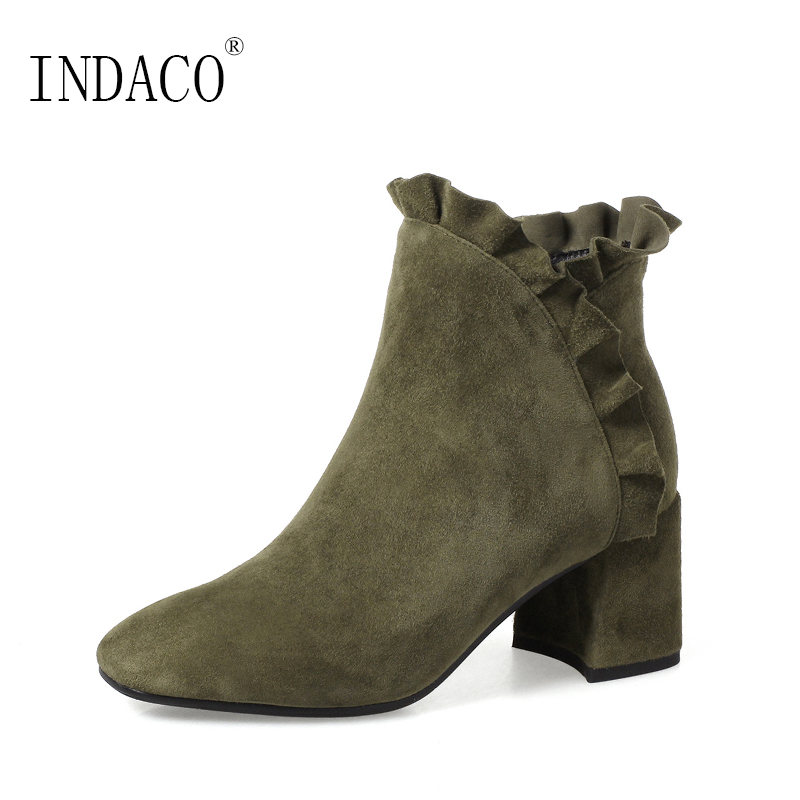 Women Autumn Winter Shoes Suede Kid Ankle Boots Black Army Green Ruffles 6cm