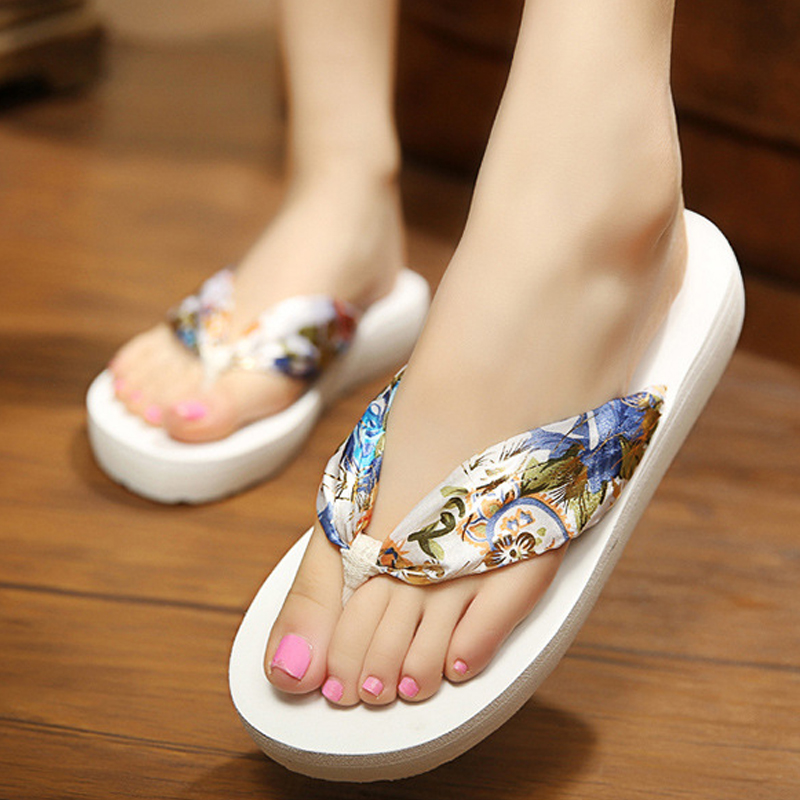 Women Slippers Satin Flip Flops Shoes Fashion Floral Unicorn Slippers Soft Summer Beach Bohemia Slope Heel Female Slipper ALD923 2018 women fur slippers luxury real fox fur beach sandal shoes fluffy comfy furry flip flops