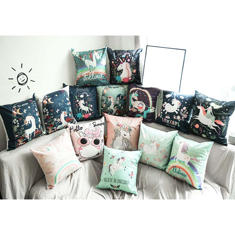 Sofa Pillows Soft: Unicorn Pillow Case 45*45 Home Throw Pillows Soft