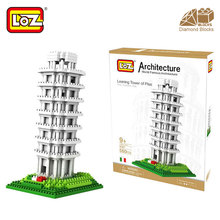 Mr.Froger LOZ Tower of pisa Diamond Block World Famous Architecture Series Tuscany Italy City Building Blocks Classic toy House