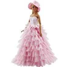 Barbie prenses Akşam Parti Elbise Giyer Elbise için Giyim Set bebek Şapka ile Barbie için Büyük Noel Hediyesi Kız Elbise Doll