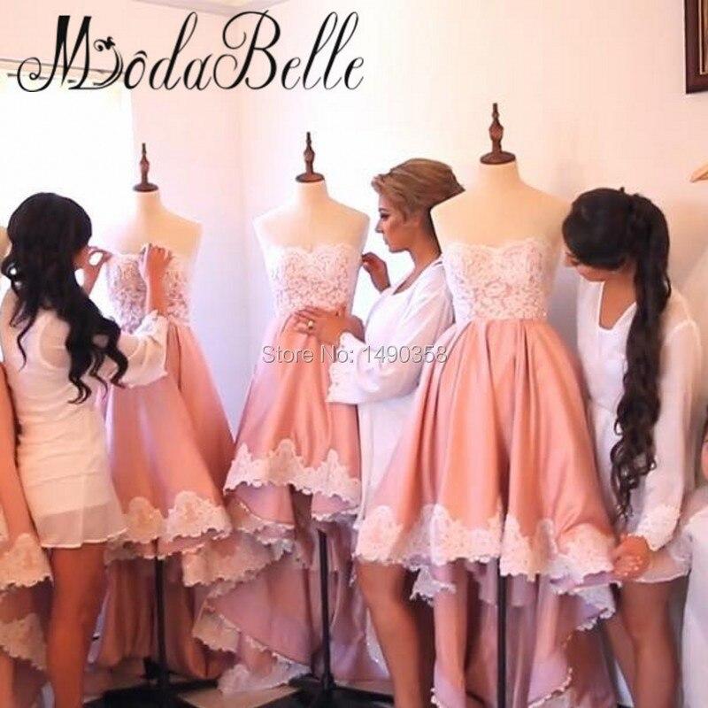Único Melocotón Vestidos De Damas De Honor Embellecimiento - Ideas ...