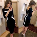 Moda 2017 dress 3 color de costura geométrica patchwork sexy bodycon tight dress party dress robe femme otoño dress #203