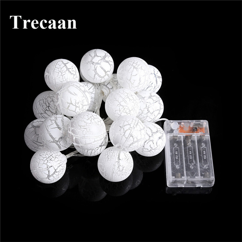Trecaan 2.3 m 20 round spherical crack egg battery box holiday decorative lights string Christmas Day party interior decoration