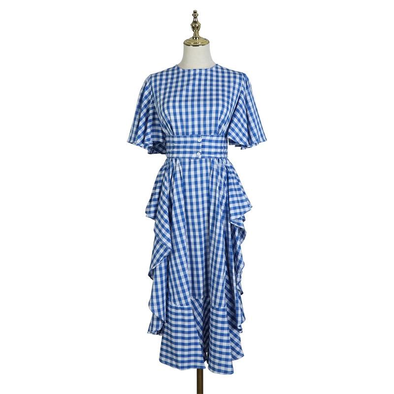 Streetwear Plaid Ruffles Slit Midi Dress Women 2019 Summer Hight Waist Belt O Neck Short Sleeve Casual Dresses Holiday Dress in Dresses from Women 39 s Clothing
