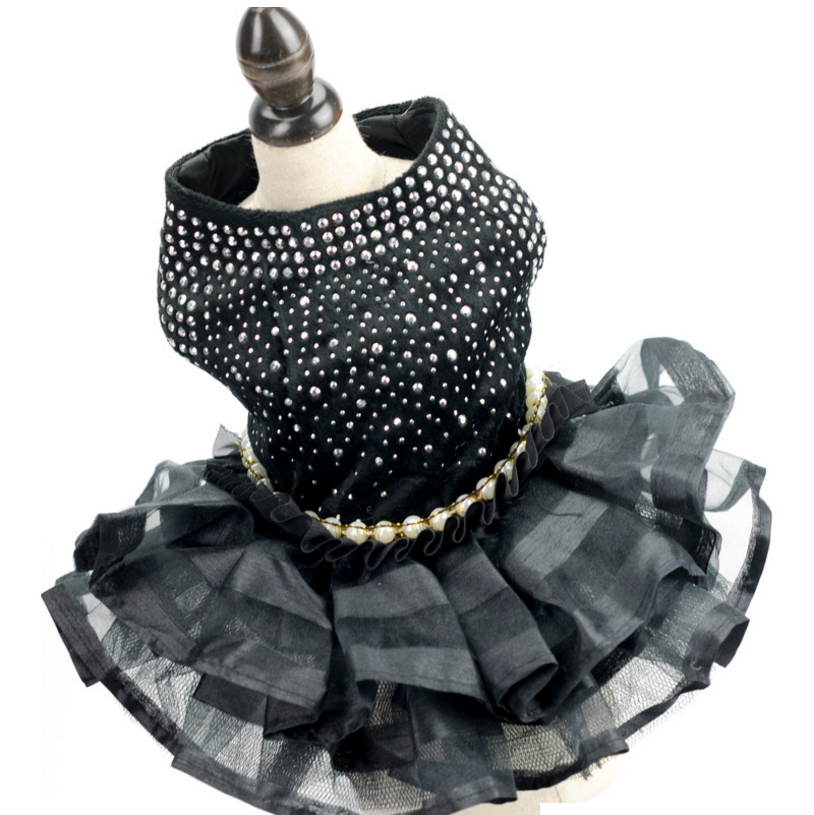 Bling <font><b>Dog</b></font> <font><b>Dress</b></font> <font><b>Wedding</b></font> Tulle Skirt Layer Sexy Black Pet Party Outfit <font><b>Dresses</b></font> XS S M L XL image